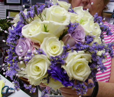 two color rose hand tied bouquet