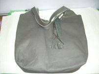 Zina Eva Leather Purse Dark Gray in color