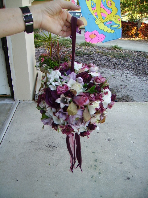 Roses mixed with other flowers bridesmaid ball