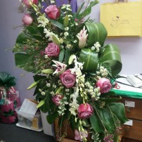 Large Pink Rose, Orchid & Lily Stand with tropical Foliage
